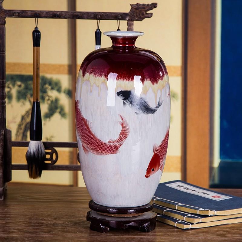 特色窑变山水裂纹釉花瓶-冬瓜瓶款