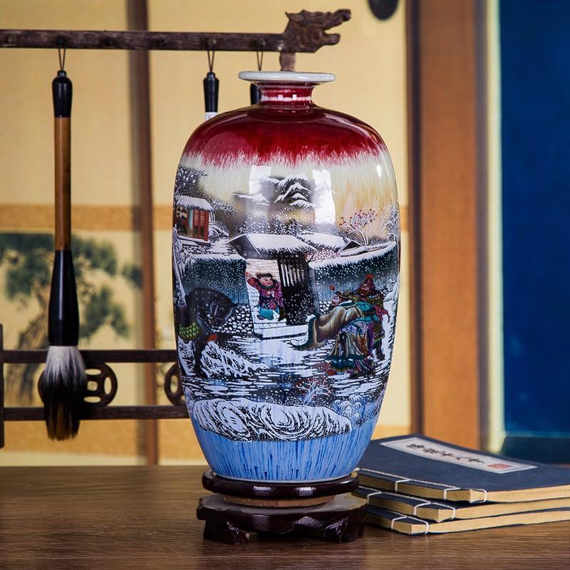 三顾茅庐窑变裂纹家居花瓶