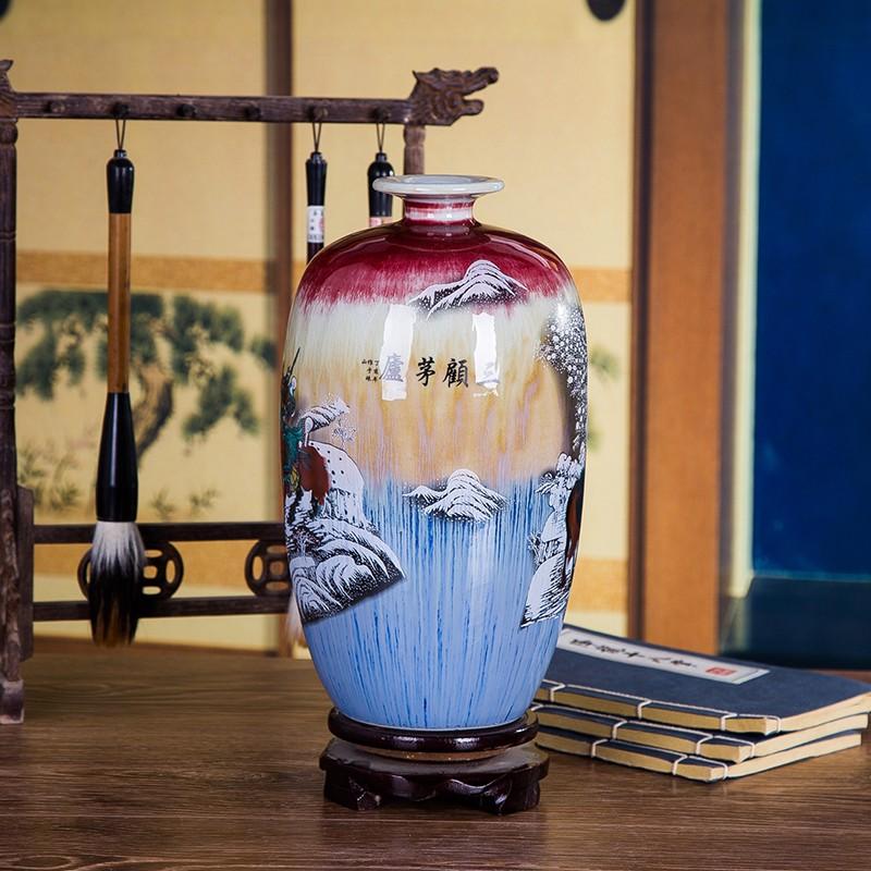 三顾茅庐窑变裂纹家居花瓶-背面