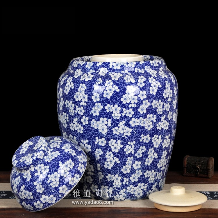 50斤青花陶瓷泡菜坛子缠枝莲-盖子