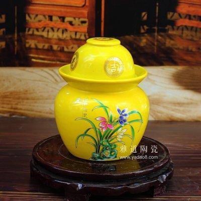 景德镇陶瓷4斤泡菜坛子-兰花