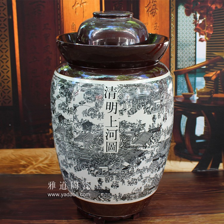 清明上河图100斤陶瓷泡菜坛子