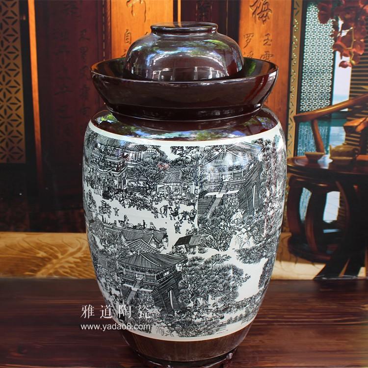 清明上河图100斤陶瓷泡菜坛子-背面