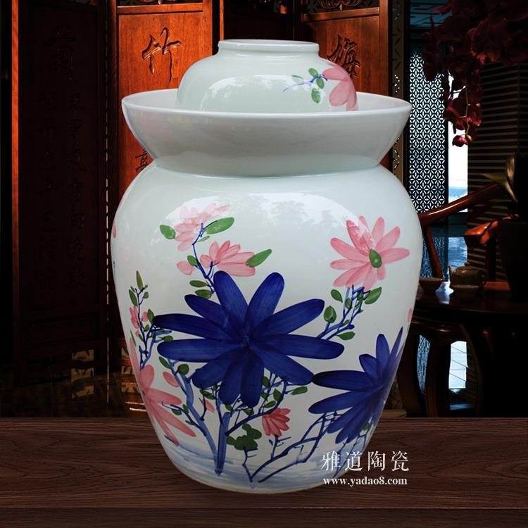 景德镇手绘100斤陶瓷泡菜坛子