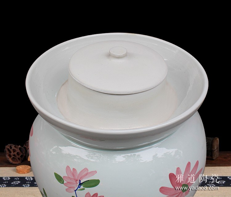 景德镇手绘100斤陶瓷泡菜坛子-内盖