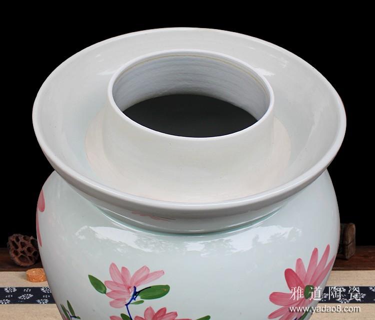 景德镇手绘100斤陶瓷泡菜坛子-水槽