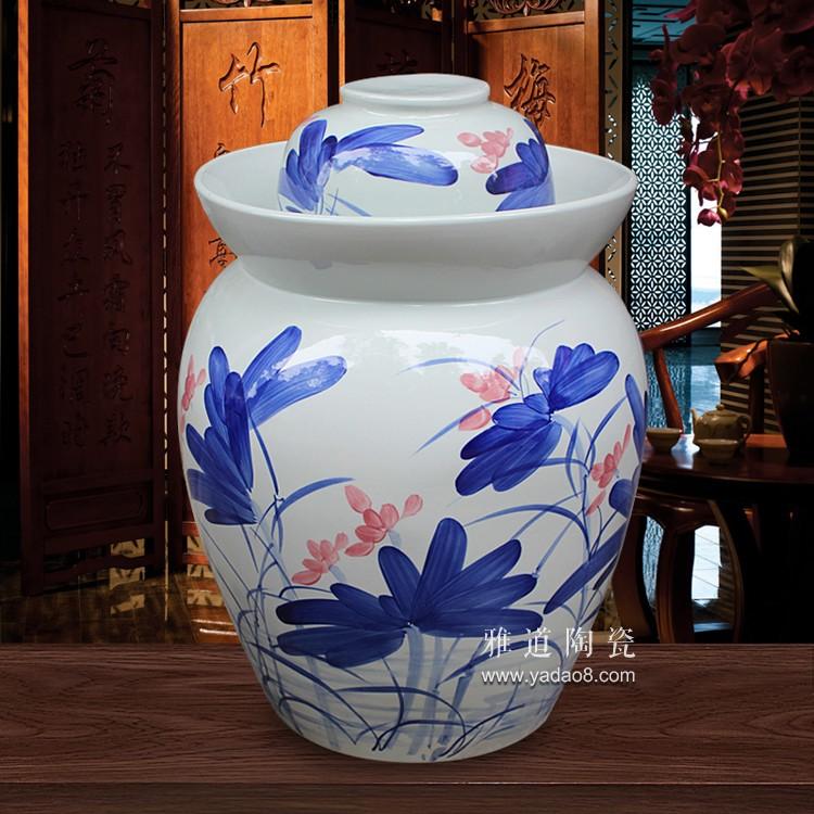 景德镇手绘100斤陶瓷泡菜坛子-荷花款