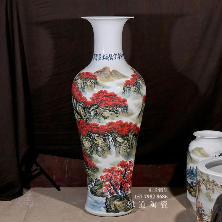 景德镇陶瓷手绘釉里红1米落地花瓶