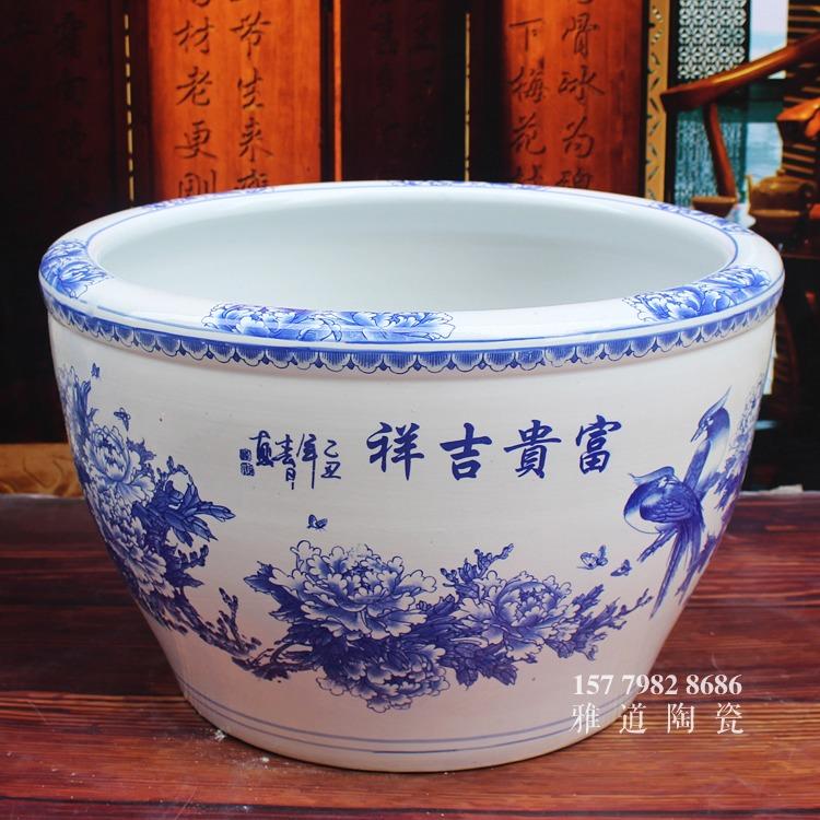 青花陶瓷缸-富贵吉祥二