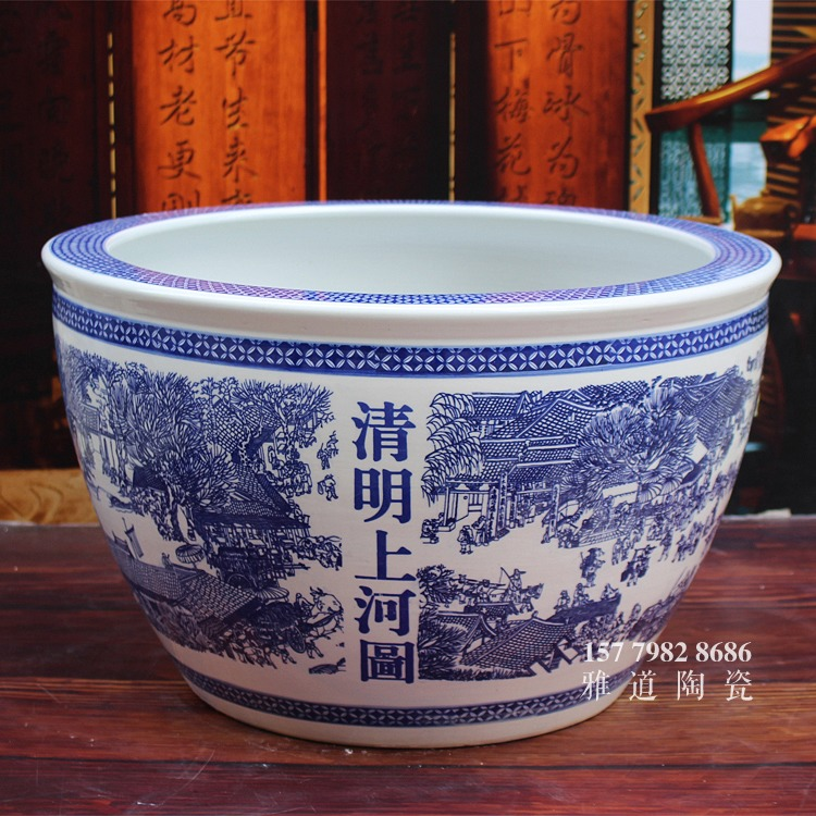 青花陶瓷缸-清明上河图一