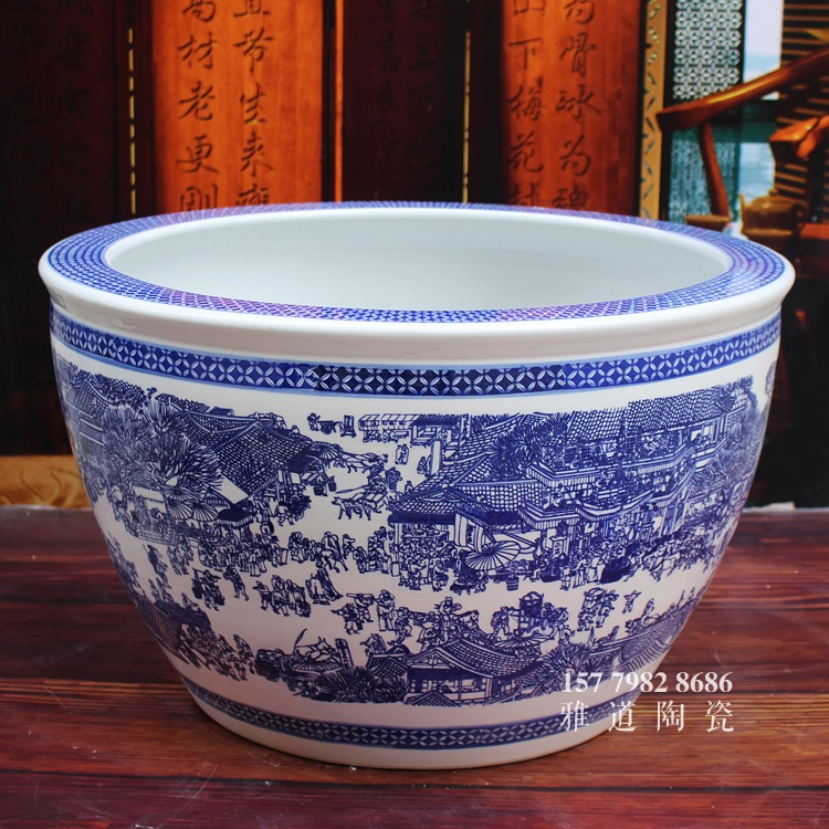青花陶瓷缸-清明上河图二