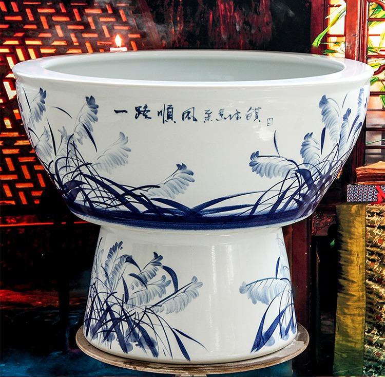 手绘青花陶瓷鱼缸一路顺风-题字