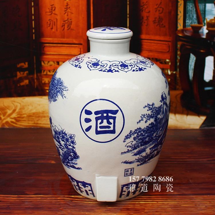 景德镇青花陶瓷酒缸