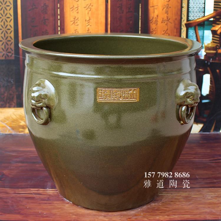 景德镇茶叶末釉莲子缸水缸书画缸