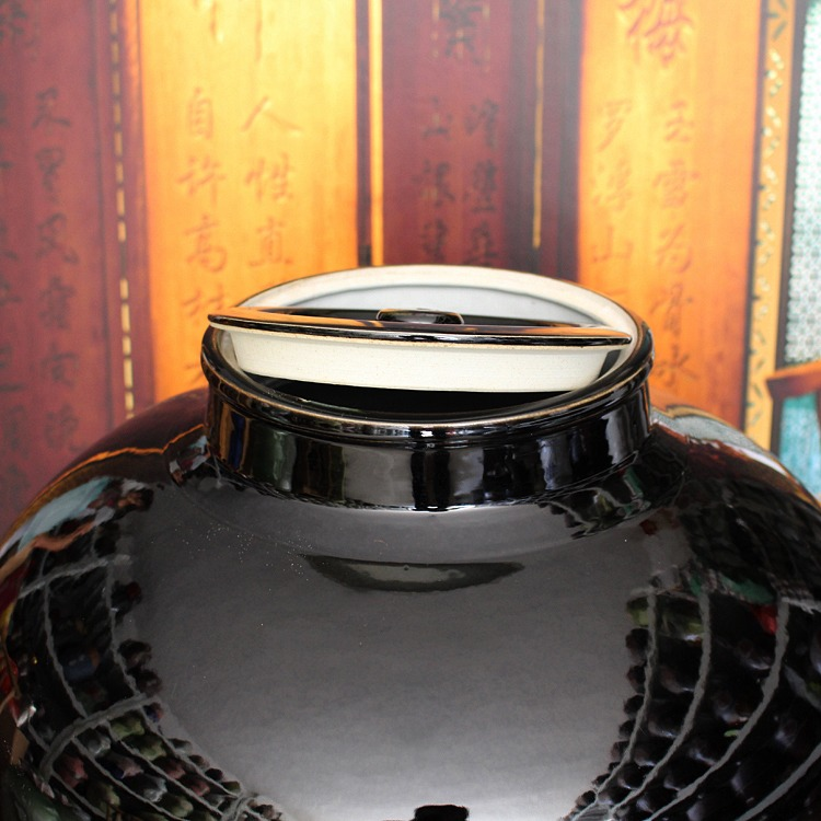 黑酒字陶瓷酒坛-大口款式二盖子