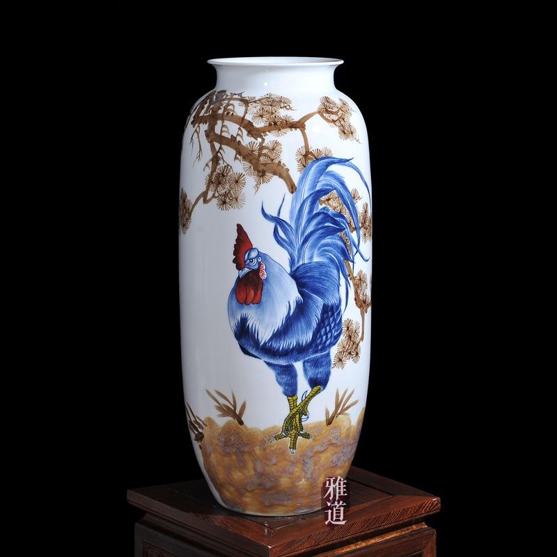 陶瓷艺术花瓶王云喜手绘金鸡报喜