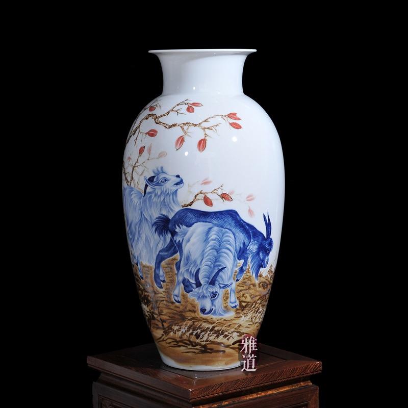 景德镇陶瓷名人花瓶三羊开泰工艺品摆件