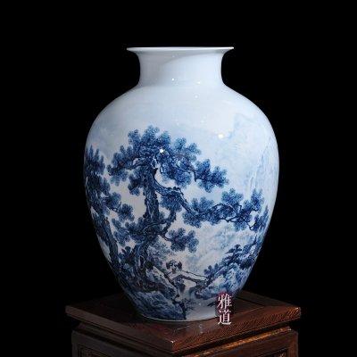 陶瓷花瓶定做王云喜手绘青花瓷山乡风情