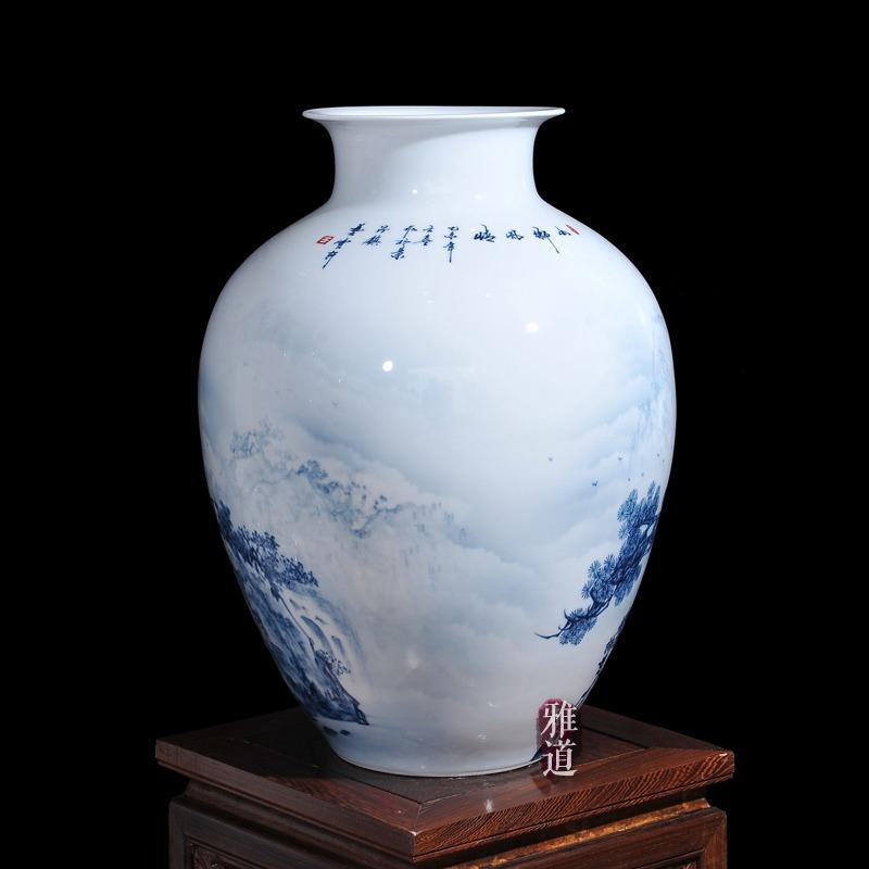 陶瓷花瓶定做王云喜手绘青花瓷山乡风情-背面