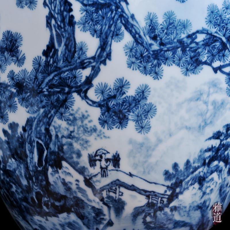 陶瓷花瓶定做王云喜手绘青花瓷山乡风情-细节