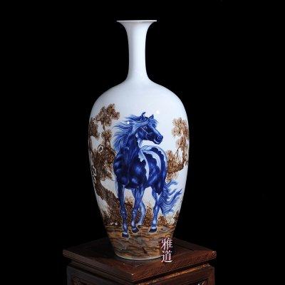 王云喜手绘马到成功客厅工艺品花瓶