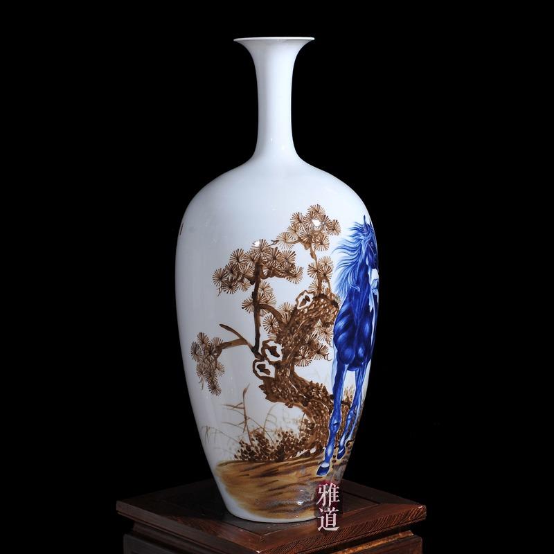 王云喜手绘马到成功客厅工艺品花瓶-侧面