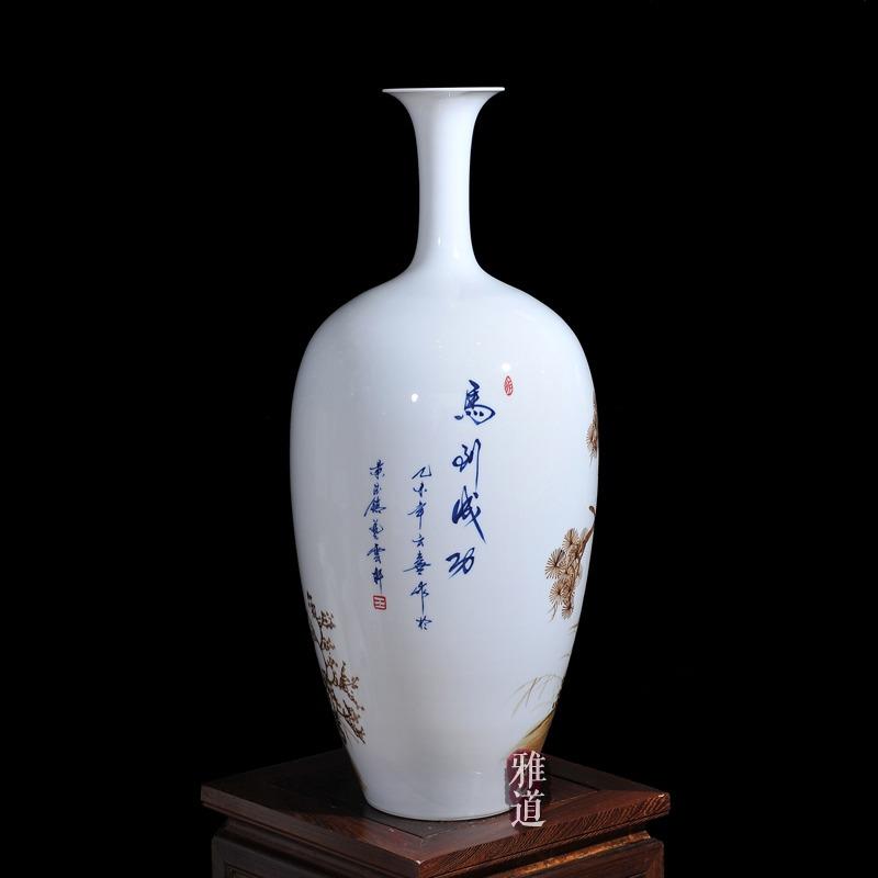 王云喜手绘马到成功客厅工艺品花瓶-背面