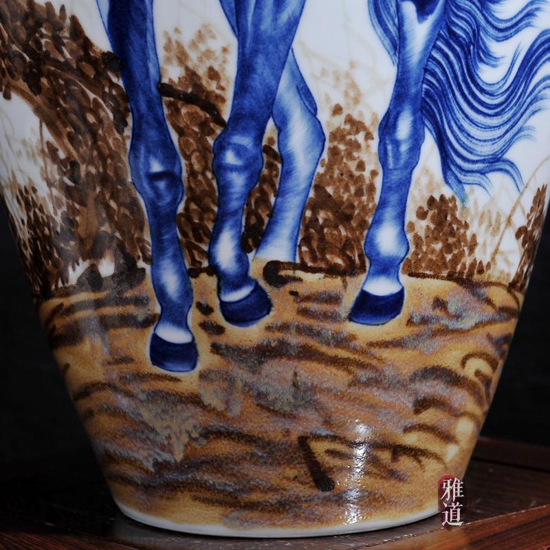 王云喜手绘马到成功客厅工艺品花瓶-细节图