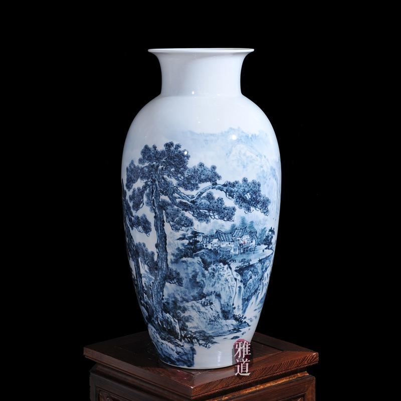 景德镇陶瓷花瓶王云喜手绘青花瓷古松乡情
