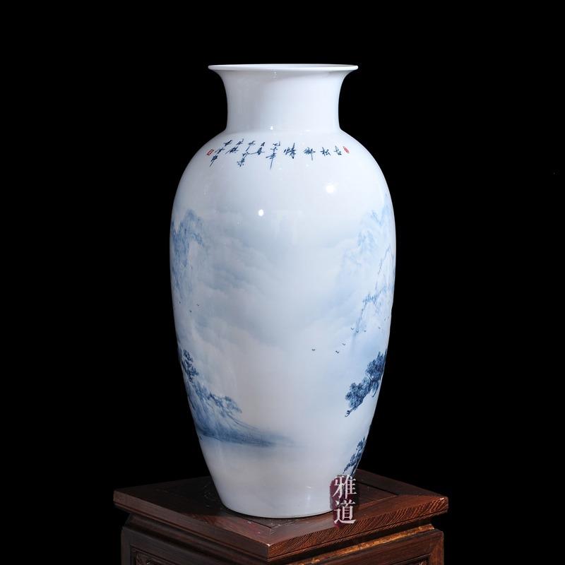 景德镇陶瓷花瓶王云喜手绘青花瓷古松乡情-背面