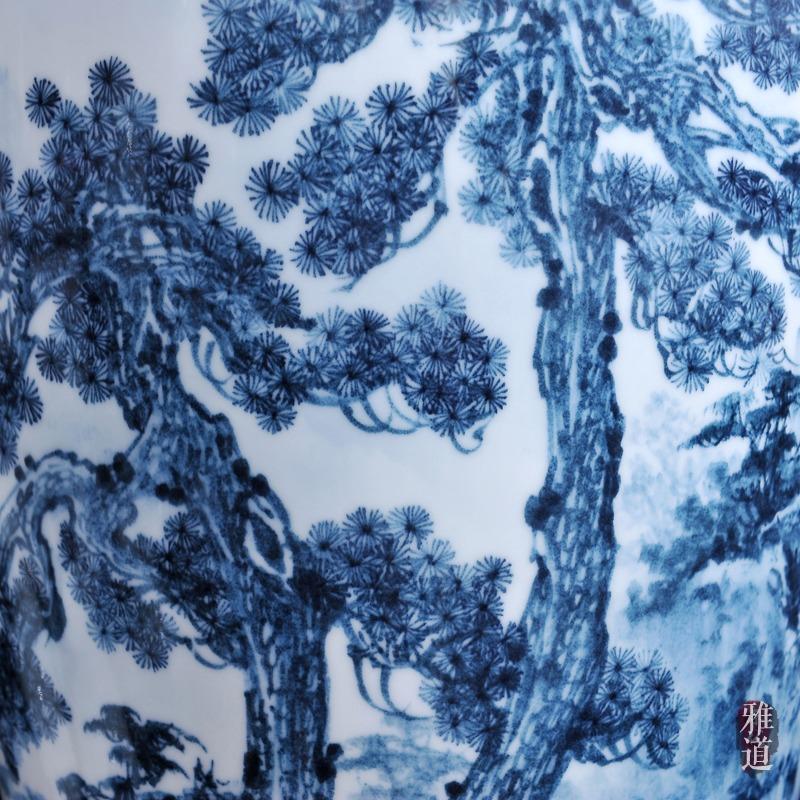 景德镇陶瓷花瓶王云喜手绘青花瓷古松乡情-细节