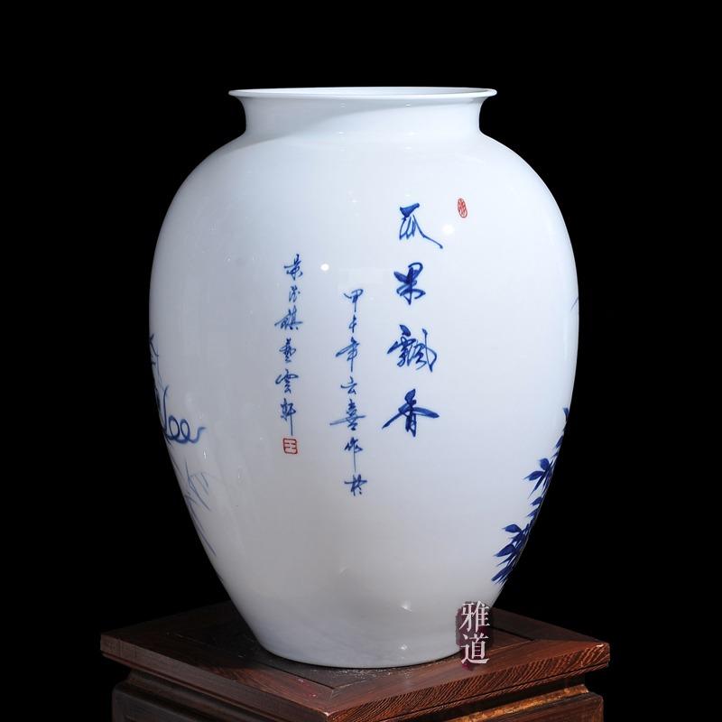 王云喜青花瓷瓜果飘香工艺品花瓶摆件-题字