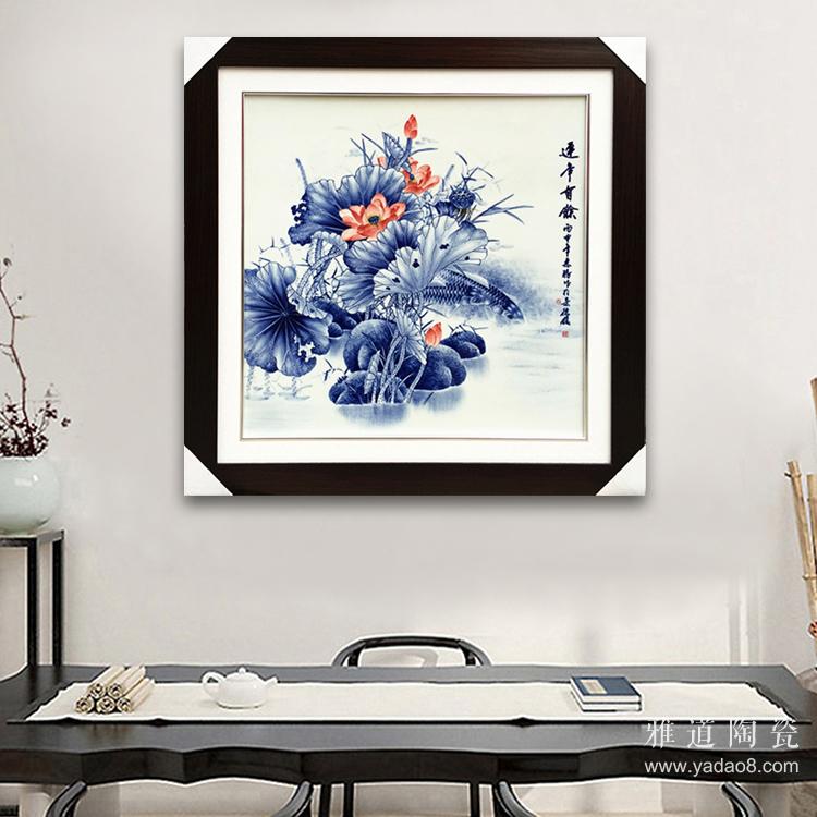 1,景德镇陶瓷写意手绘瓷板画马到成功 带框高度:75厘米,宽度:75厘米