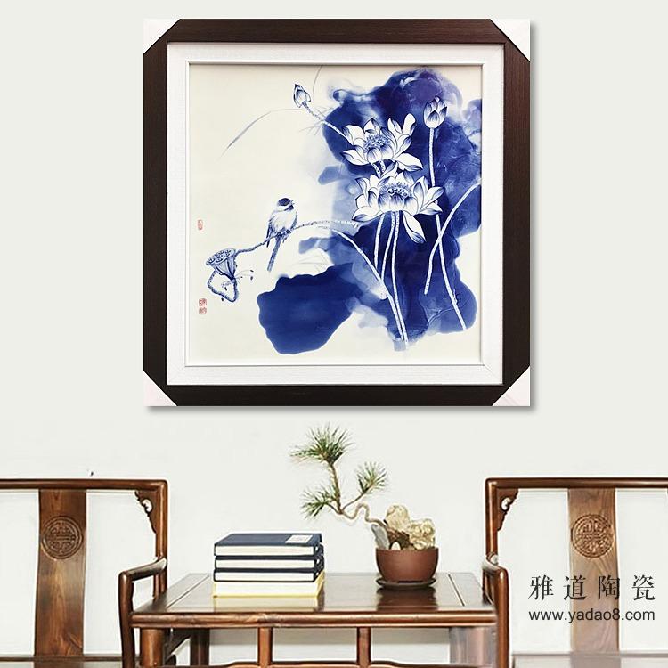 景德镇手绘青花瓷板画泼墨艺术荷花