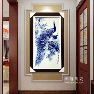 景德镇名家手绘家居挂画青花孔雀