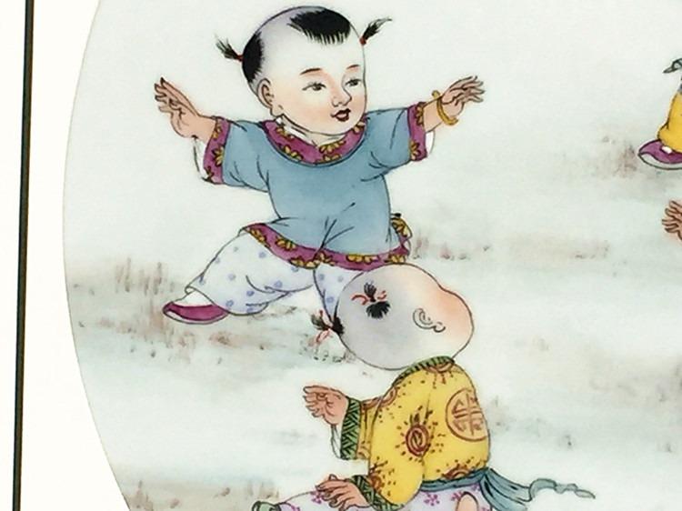 景德镇瓷器手绘人物瓷板画童趣