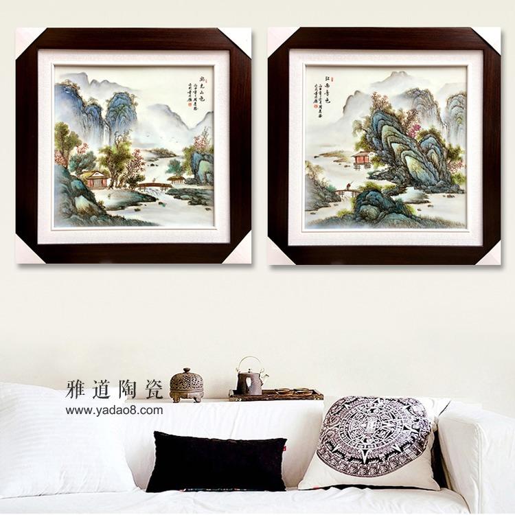 景德镇陶瓷釉上粉彩手绘山水风景挂画