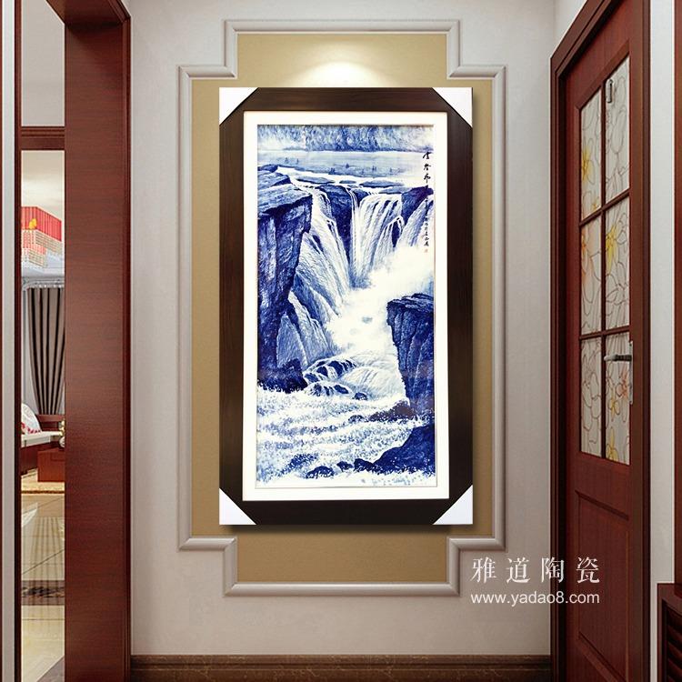 景德镇陶瓷名家手绘青花山水瓷板画