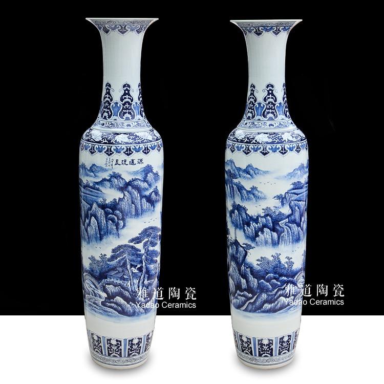 仿古大花瓶工笔手绘青花源远流长