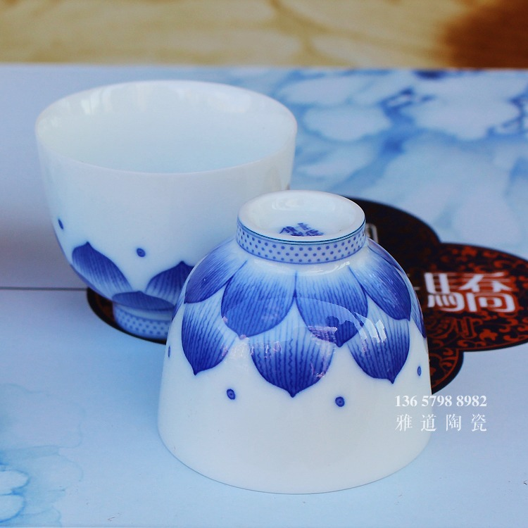 景德镇青花瓷茶具套装莲花功夫茶具-茶杯