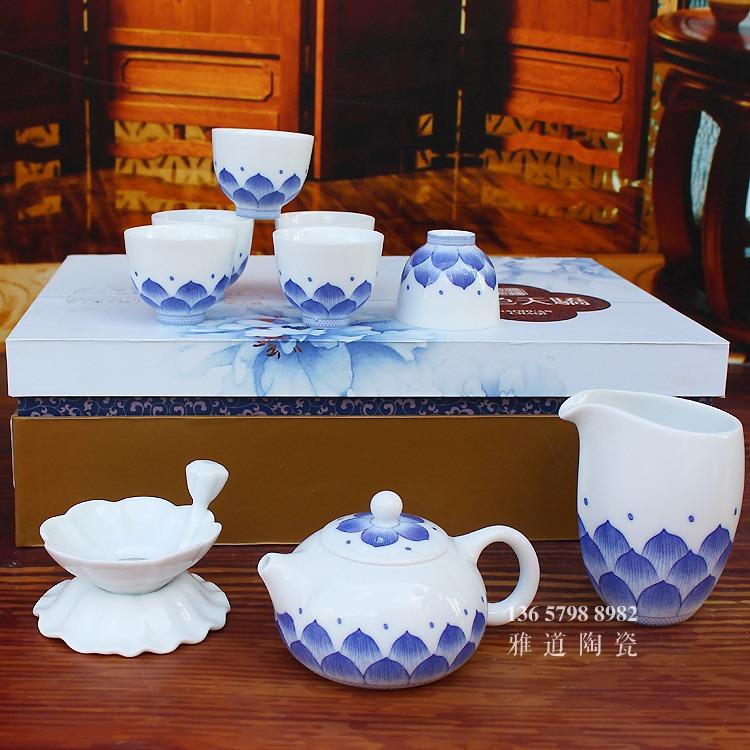 景德镇青花瓷茶具套装莲花功夫茶具