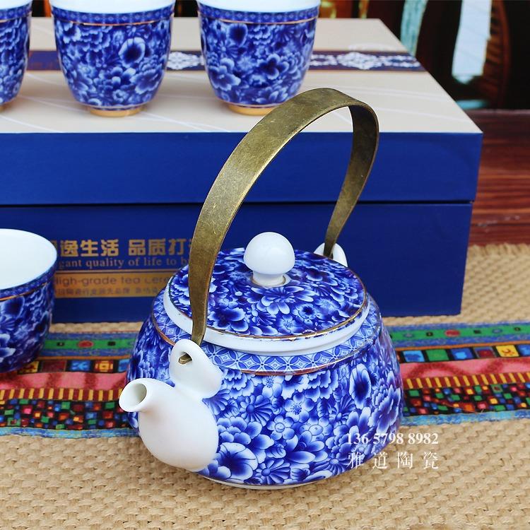 景德镇家用提梁壶实用青花瓷茶具套装