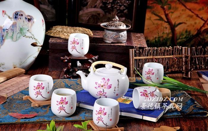 景德镇陶瓷荷花提梁壶实用茶具套装