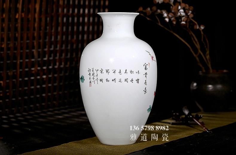 景德镇名家手绘陶瓷花瓶富贵长寿