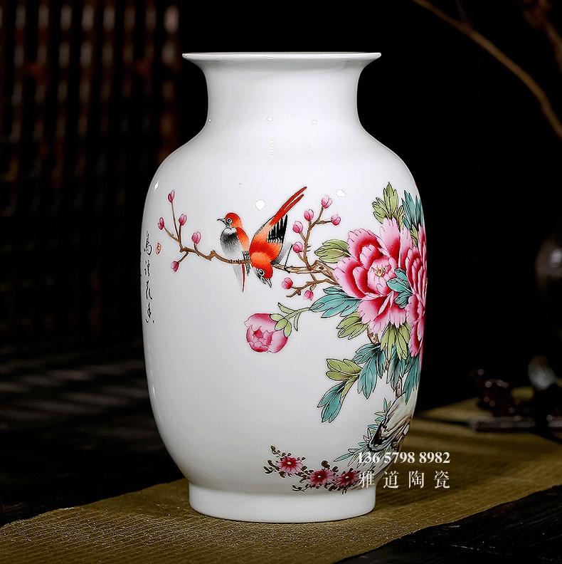 名家夏国安手绘客厅陶瓷花瓶鸟语花香