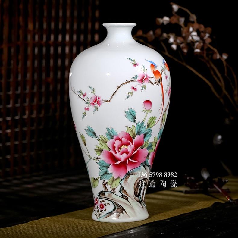 夏国安手绘满园春色花瓶家居工艺品摆件-侧面