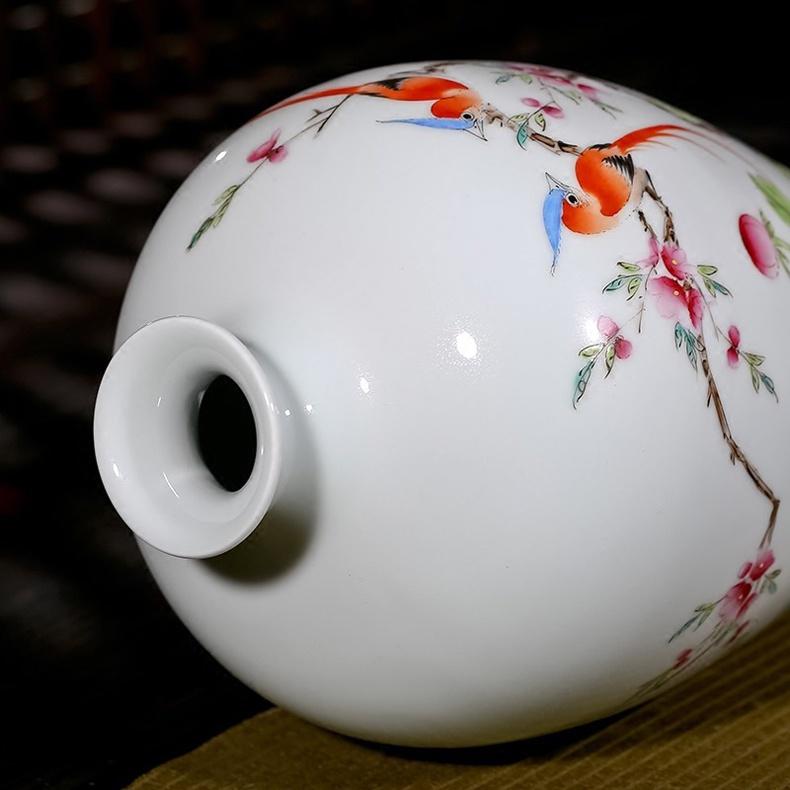 夏国安手绘满园春色花瓶家居工艺品摆件-口部