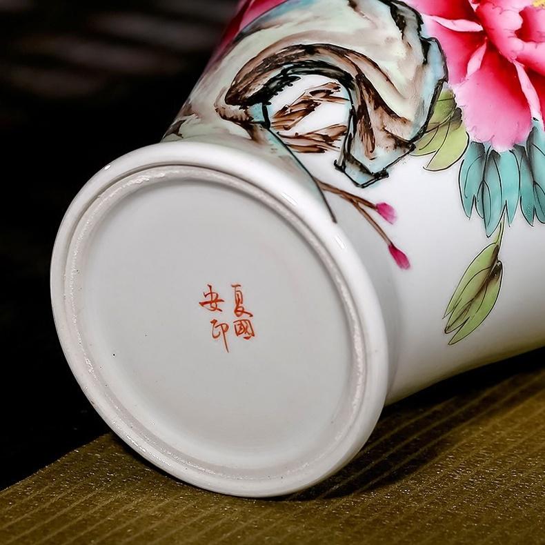夏国安手绘满园春色花瓶家居工艺品摆件-底款