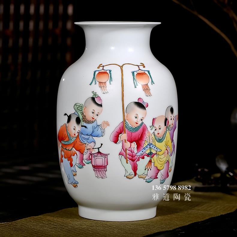 景德镇名家手绘艺术陶瓷花瓶五子登科