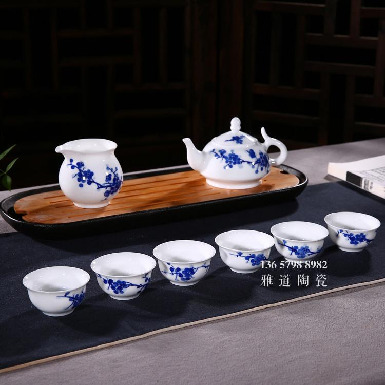 景德镇手绘梅花青花瓷茶具套装批发